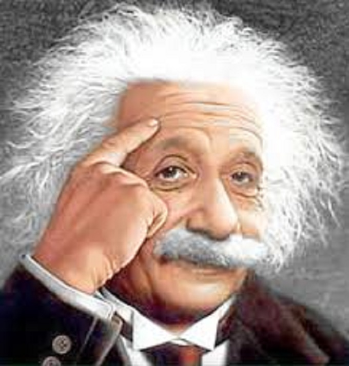 Einstein thinking head
