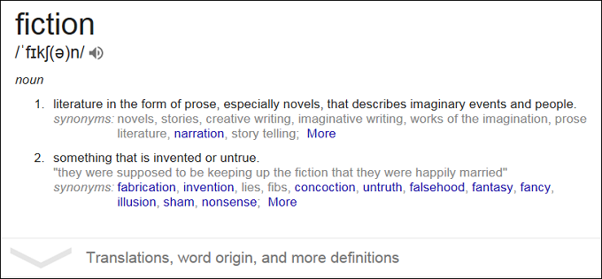 Fiction meaning screenshot