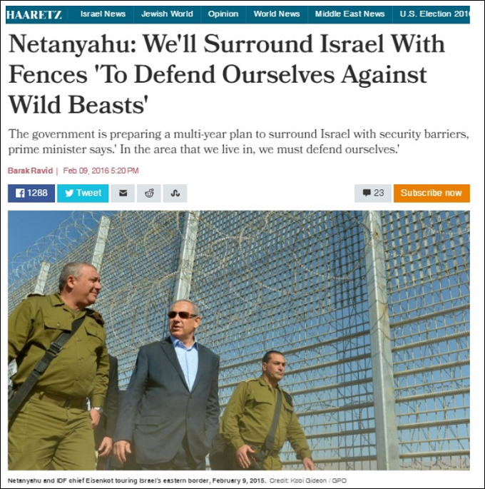 Haaretz Netanyahu barbed wire wall