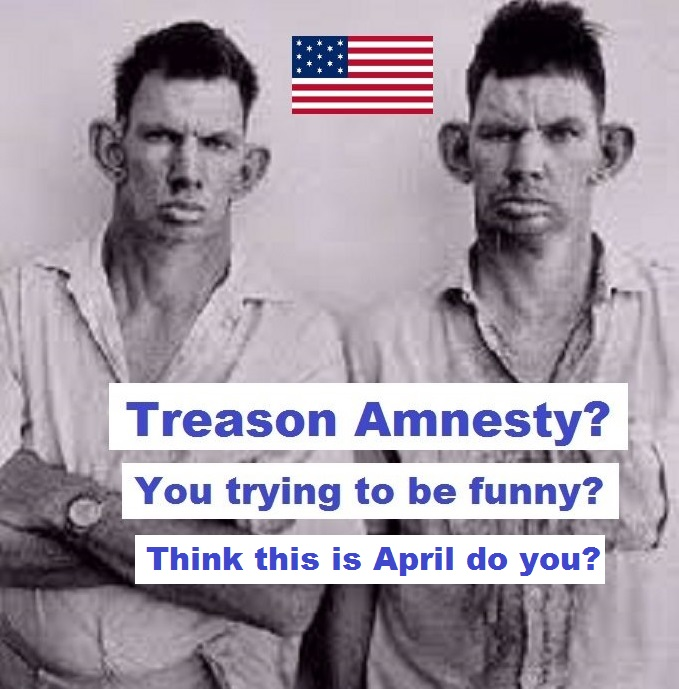 Inbred hillbilly treason amnesty trying to be funny APRIL